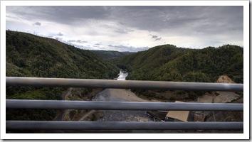Reece Dam and the Pieman River below