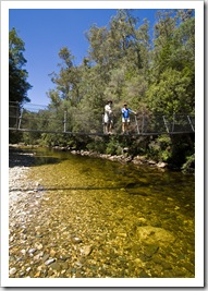 Lisa and Greg on the swinging bridge over the Franklin River