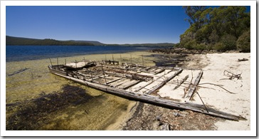 An old barge washed up on the shores of Lake Saint Clair