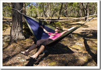 Lisa relaxing at our campsite at Lagoon of Islands