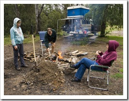 Enjoying the fire at Griffin Park camping area