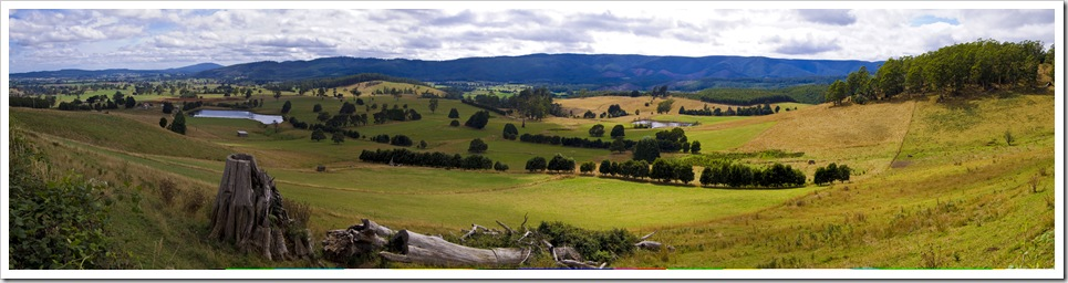 Beautiful farmland in the mountain valleys near Mount Victoria