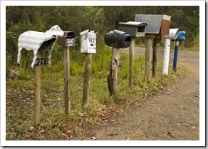 Eclectic mail boxes on the road between Cloudy Bay and Adventure Bay
