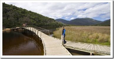 Lisa crossing Tidal River