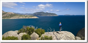 Lisa at Pillar Point with some of the Wilsons Promontory islands in the distance