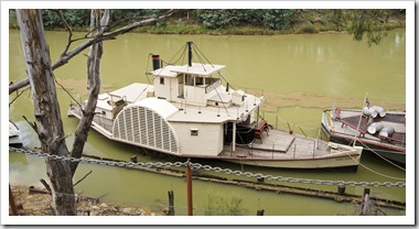 An old paddle steamer on the Murray River in Echuca