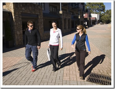 Will, Abi and Lisa walking through Thredbo village