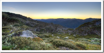 The mountain glow before sunrise on the way to Mount Kosciuszko