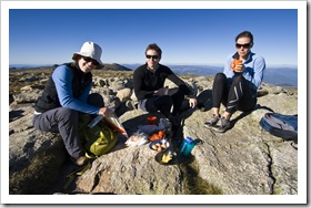 Lisa, Will and Abi having breakfast on the top of Mount Kosciuszko