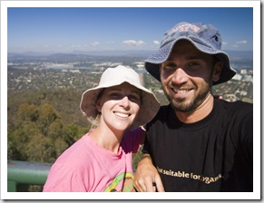 Lisa and Sam on top of Mount Ainslie