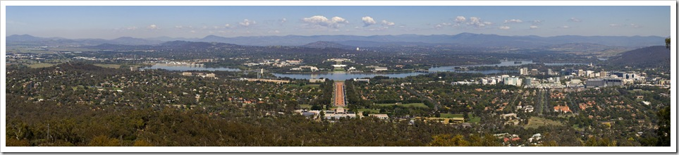 Canberra from the top of Mount Ainslie