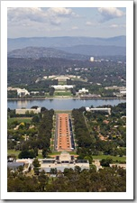 The War Memorial, ANZAC Parade and Parliament House from the top of Mount Ainslie
