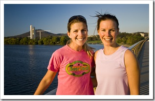 Lisa and Abi taking a walk around Lake Burley Griffin