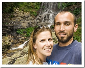 Sam and Lisa in front of Tristania Falls in Dorrigo National Park