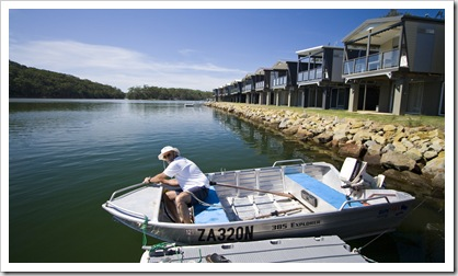 John getting the dinghy ready at Lake Conjola