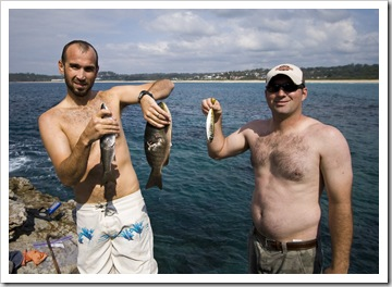 Sam and Jarrid with fresh fish from the reef at Bannisters Point