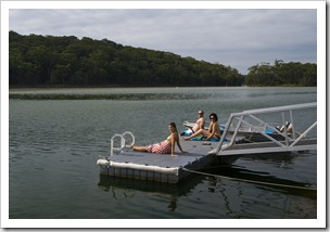 Lisa, Jarrid and Jacque relaxing at Lake Conjola
