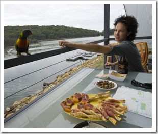 Jacque and a Rainbow Lorikeet at Lake Conjola
