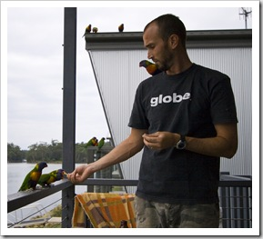 Sam and some friendly Rainbow Lorikeets at Lake Conjola