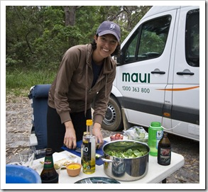 Jacque working on a salad in Mimosa Rocks National Park