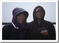 Jacque and Jarrid braving the wet at Fitzroy Falls