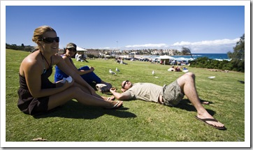 Lisa, Jacque and Jarrid taking it all in on the grass at Bondi