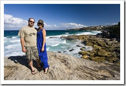 Jarrid and Jacque near Tamarama Beach on the walk between Bondi and Bronte