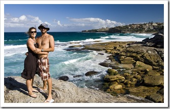Sam and Lisa near Tamarama Beach on the walk between Bondi and Bronte