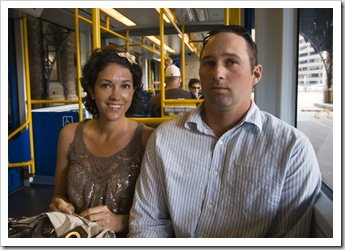 Jacque and Jarrid on the tram on the way to the fish markets