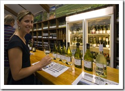 Lisa sampling the fare at Tyrell's Wines