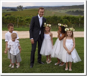 Sam with the kids before the wedding
