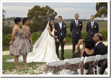 The wedding party: Tess, Lali, Priya, Sam, Sam and Mark
