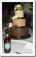 The wedding cake: caramel and Kaluha chocolate mud cake