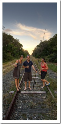 Lisa, Matt and Anna on the railway line between our house and the beach