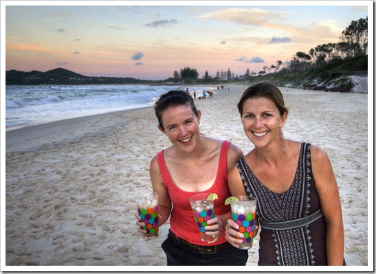 Anna and Lisa with a few beer margeritas on the beach