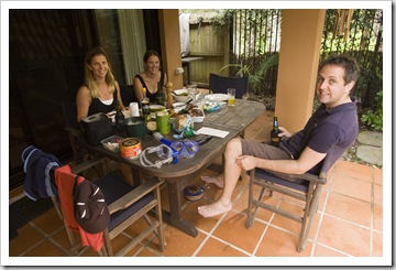 Lisa, Anna and Matt enjoying and outdoor breakfast