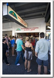 One of the busy Byron Bay gelaterias