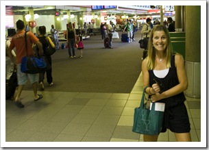 Lisa excited at the Brisbane airport