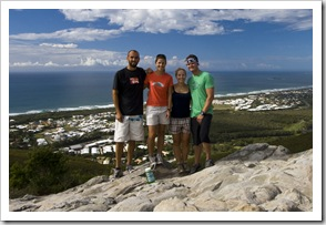 Sam, Lisa, Cheryl and Chris at the top of Mount Coolum