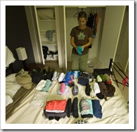 Lisa doing one of her favourite things: organizing her wardrobe before we hit the road