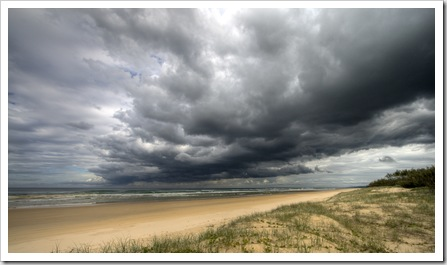 Clouds rolling in over Fraser Island