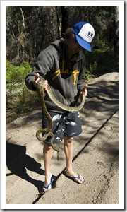 Chris with a Carpet Python on the inland track from Lake Boomanjin