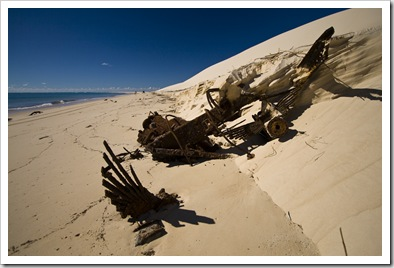 Remnants of vehicles at Sandy Cape