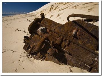 An old engine block rusting away at Sandy Cape