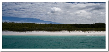Brilliant white sand of Whitehaven Beach on Whitsunday Island