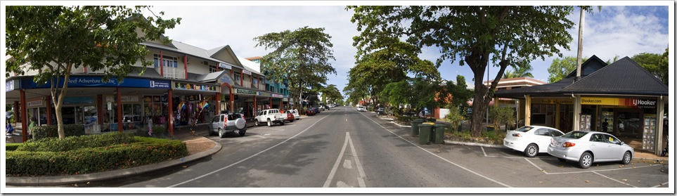 The main drag in Port Douglas