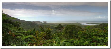 View of the coast and Daintree from Mount Alexandra lookout