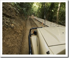 A very tight squeeze down some steep terrain in Daintree National Park