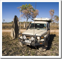 The termite mounds increased in size as we headed north...