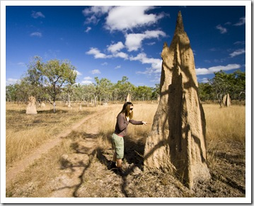 Lisa next to a giant termite mound on the walk to Blue Lagoon